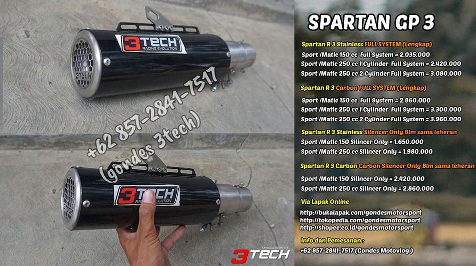 Knalpot Spartan GP 3 Suara