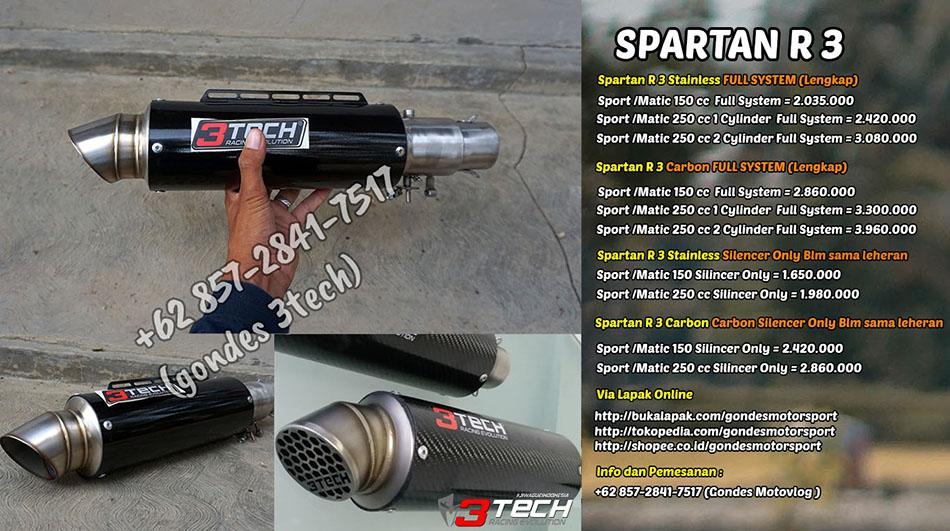Harga Knalpot Spartan R 3 Suara